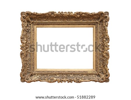 Medieval picture frame (sapia tone), isolated on white background - stock photo