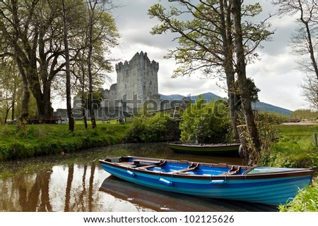 Medieval Ross castle in Killarney - Ireland - stock photo