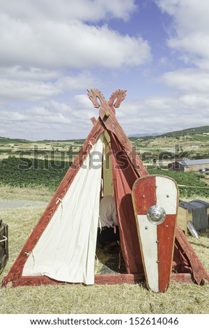 Medieval Shield Camp Mountain, celebration and event - stock photo