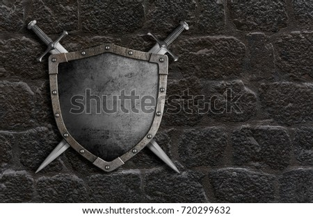 medieval shield with crossed swords over castle stone wall 3d illustration