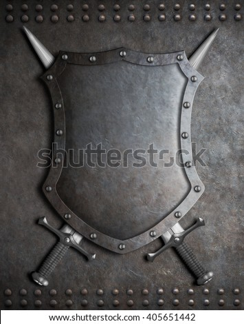 medieval shield with two crossed swords over armour background - stock photo