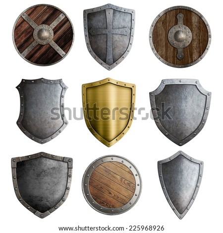 Medieval shields or badges set isolated on white - stock photo