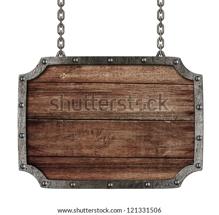 medieval signboard with chains isolated on white - stock photo