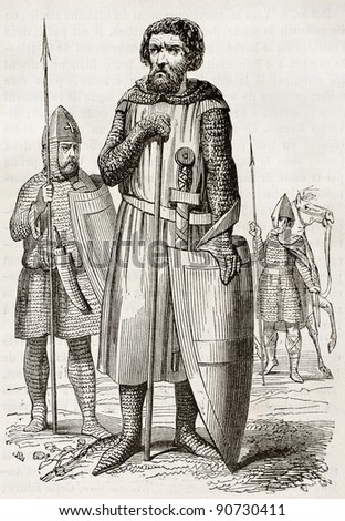 Medieval soldiers old illustration. Created by Montfaucon and Willemin, published on Magasin Pittoresque, Paris, 1844