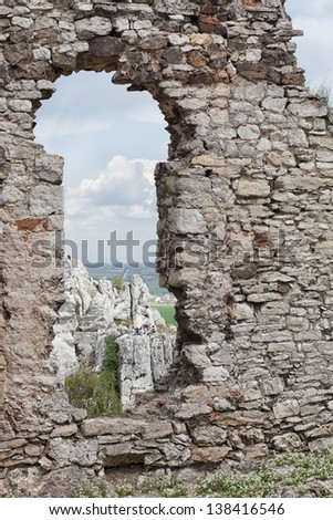 Medieval stone castle ruins window, architectural detail - stock photo
