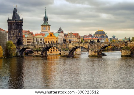 Medieval stone Charles Bridge and the old town of Prague, Czech Republic - stock photo
