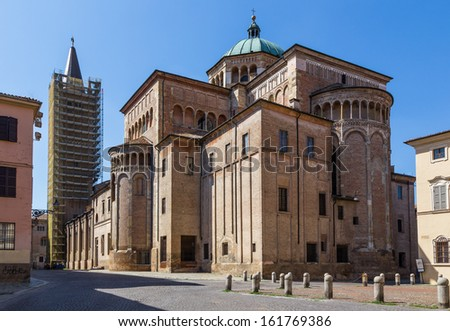 medieval street in old town of Parma in Italy - stock photo