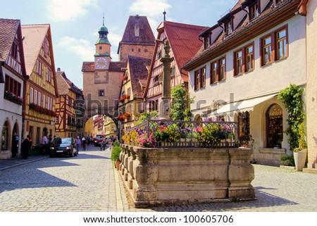 Medieval street in Rothenburg ob der Tauber, Germany - stock photo