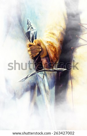 medieval sword in woman hand on color painting  background - stock photo