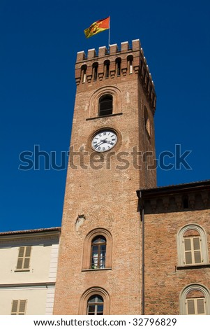 Medieval tower with clock