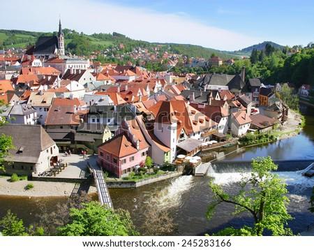 medieval town Cesky Krumlov (UNESCO), South Bohemia, Czech republic, Europe  - stock photo