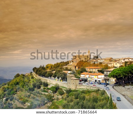 Medieval town Montalcino, Val d'Orcia, Tuscany, Italy, UNESCO World Heritage Site - stock photo
