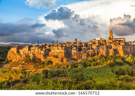 Medieval town of Pitigliano at sunset, Tuscany, Italy - stock photo