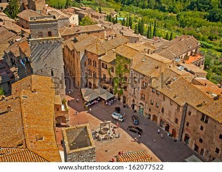 Medieval Tuscany town - San Gimignano, Italy  - stock photo