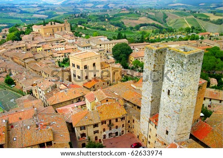 medieval Tuscany town - San Gimignano- view from towers - stock photo