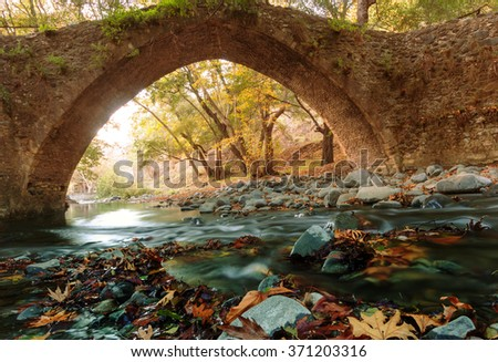 Medieval Venetian bridge in Cyprus - stock photo