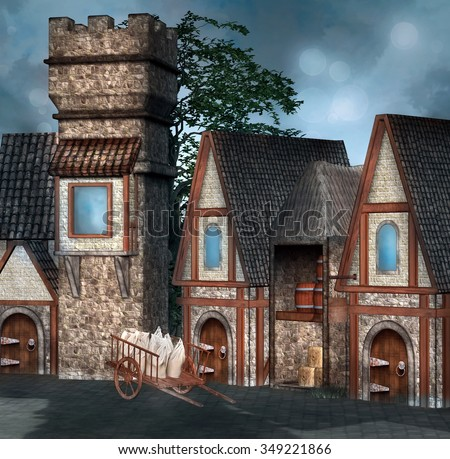 Medieval village - stock photo