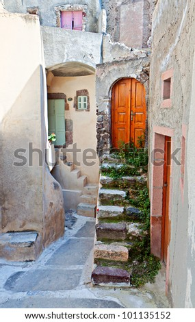 Medieval village of Emporio at Santorini island in Greece - stock photo