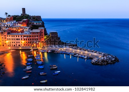 Medieval Village of Vernazza in the Morning, Cinque Terre - stock photo