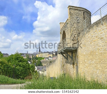 Medieval walls and fortifications in Luxembourg city, Grand Duchy of Luxembourg. The historic city center of Luxembourg City is UNESCO World Heritage Site - stock photo