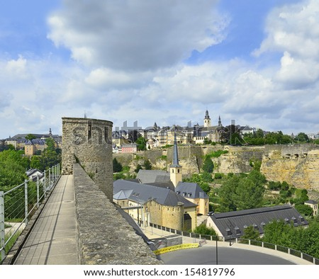 Medieval walls and fortifications to the Rham Plateau in Luxembourg city, Grand Duchy of Luxembourg. The historic city center of Luxembourg City is UNESCO World Heritage Site - stock photo