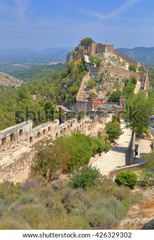 Medieval walls of the Castle of Xativa, Valencia, Spain