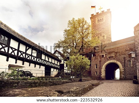 medieval Wartburg Castle in Eisenach, Germany - stock photo