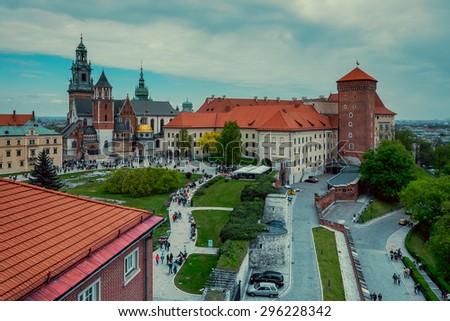 Medieval Wawel castle on Wawel Hill in Krakow, Poland - stock photo