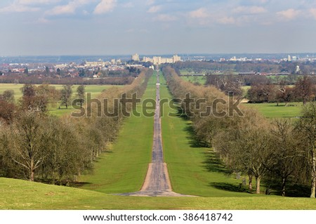 Medieval Windsor Castle in the Royal County of Berkshire, England from the long walk in the Great Park