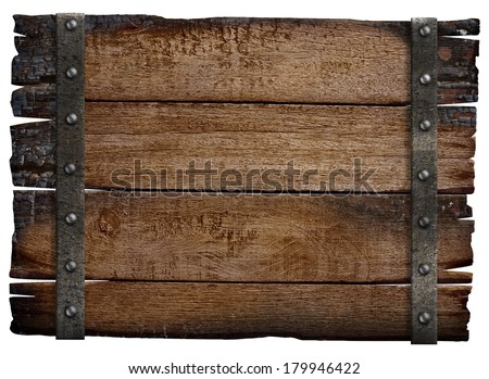 medieval wood sign board isolated - stock photo