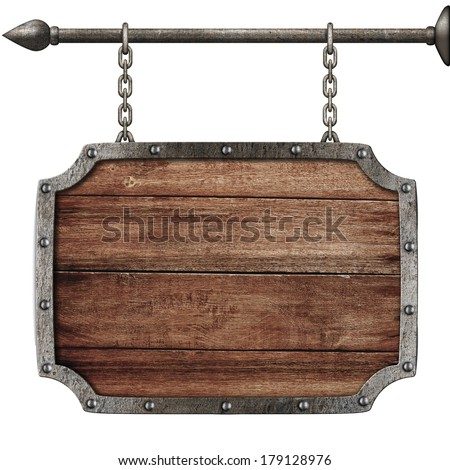 medieval wood sign hanging on chains isolated on white - stock photo