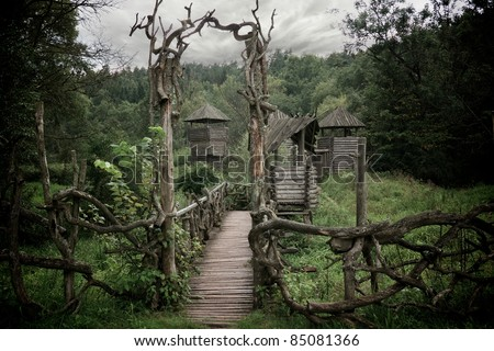 Medieval wooden fortification. - stock photo