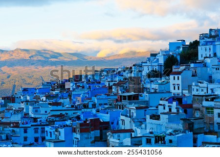 Medina of Chefchaouen, Morocco. Chefchaouen or Chaouen is a city in northwest Morocco. It is the chief town of the province of the same name, and is noted for its buildings in shades of blue. - stock photo