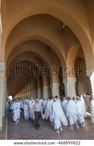 MEDINA, SAUDI ARABIA-DECEMBER 20 2014: Unidentified pilgrims at Bir Ali mosque (Zulhulaifah) in Medina. This is a miqat area (place and time for Ihram) for pilgrims who enter Mecca from Medina.