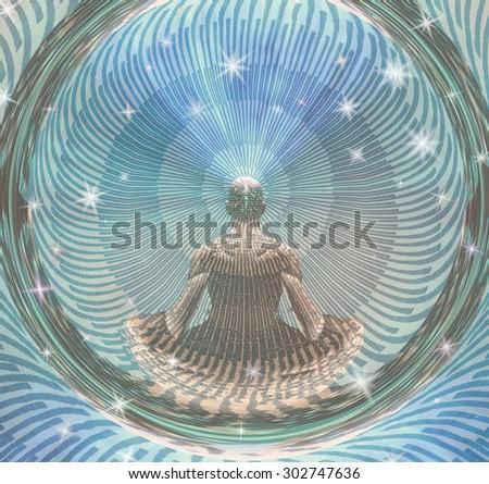 Meditating Man and Energy - stock photo