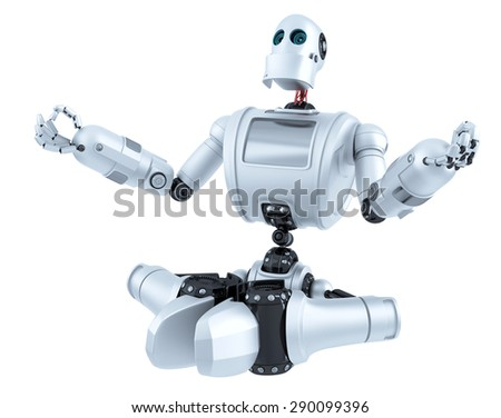 Meditating Robot. Technology concept. Isolated over white. Contains clipping path - stock photo