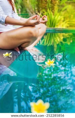 meditating woman abstract faceless photo - stock photo