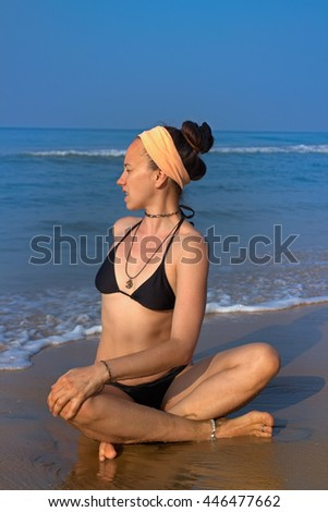 meditation beach at yoga home. Lotus position the concentration of spiritual and natural energy - stock photo