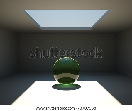 meditation concept (green glass ball inside the empty room with a window in celling) - stock photo