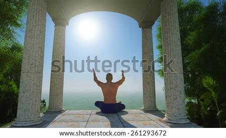 Meditation of the person near columns - stock photo