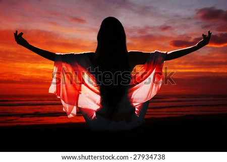 meditation of woman against ocean - stock photo