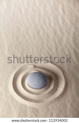 meditation stone for meditation and concentration in Japanese zen garden purity harmony and simplicity give calm and serene spiritual image - stock photo
