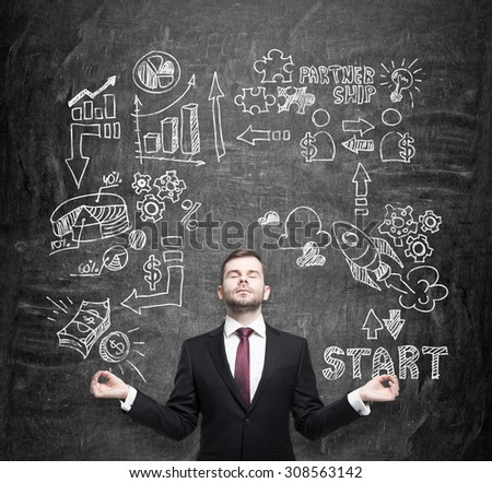 Meditative manager, businessman, student is thinking about business opportunities. A concept of brainstorm. Business icons are drawn behind the person on the black chalkboard. - stock photo