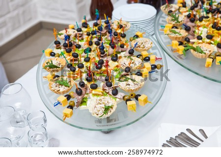 mediterranean appetizers and antipasti - stock photo