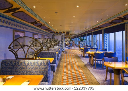 MEDITERRANEAN APRIL 28 Interior Cruise Ship Stock Photo Royalty