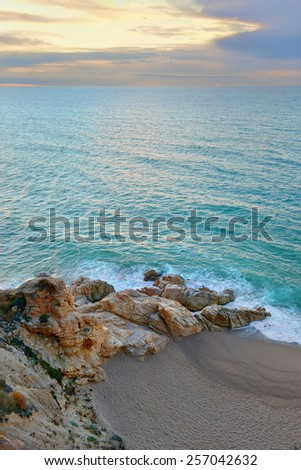 Mediterranean beach, a well known tourist destination (Costa Brava, Catalonia, Spain) - stock photo