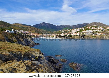 Mediterranean coast in south of France with the village of Cerbere, Vermilion coast, Roussillon - stock photo