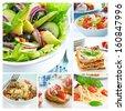 Mediterranean food collage with salads, bruschetta, lasagne and pasta - stock photo