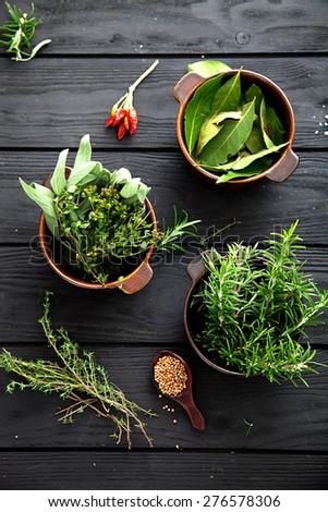 Mediterranean herbs and  ingredients: rosemary, thyme, sage, salt, oregano - stock photo