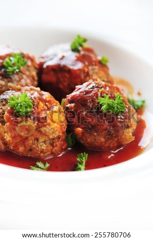 mediterranean meatballs with red sauce - stock photo